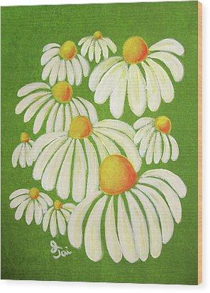 Perky Daisies Wood Print by Oiyee At Oystudio