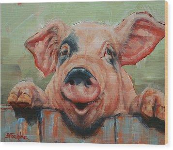 Perky Pig Wood Print