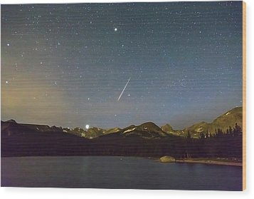 Wood Print featuring the photograph Perseid Meteor Shower Indian Peaks by James BO Insogna