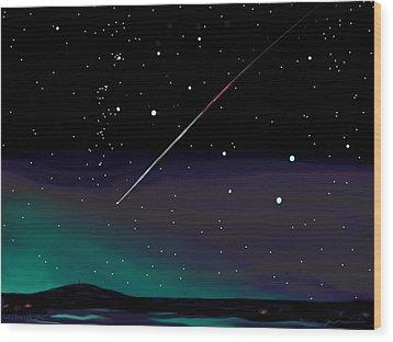 Wood Print featuring the digital art Perseid Meteor Shower  by Jean Pacheco Ravinski