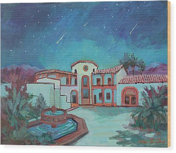Wood Print featuring the painting Perseids Meteor Shower From La Quinta Museum by Diane McClary