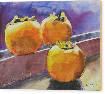 Persimmon Wood Print by Melody Cleary