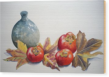 Persimmon Trio Wood Print by Sandy Fisher