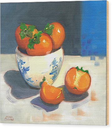 Wood Print featuring the painting Persimmons by Susan Thomas