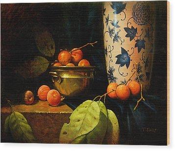 Persimmons Wood Print by Timothy Jones