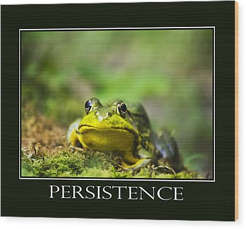 Persistence Inspirational Motivational Poster Art Wood Print by Christina Rollo