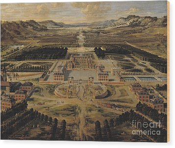 Perspective View Of The Chateau Gardens And Park Of Versailles Wood Print by Pierre Patel