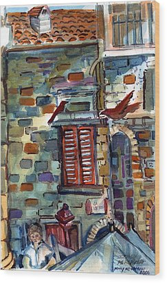 Perugia Street Cornor Wood Print by Mindy Newman