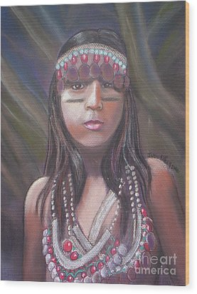 Peruvian Girl Wood Print by Julie Brugh Riffey