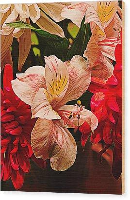 Peruvian Lily Grain Wood Print by Bill Tiepelman