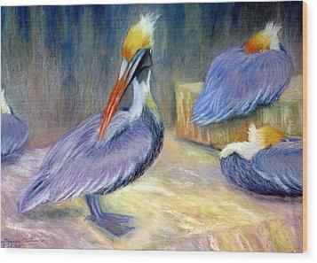 Peruvian Pelicans One  Pastel Wood Print