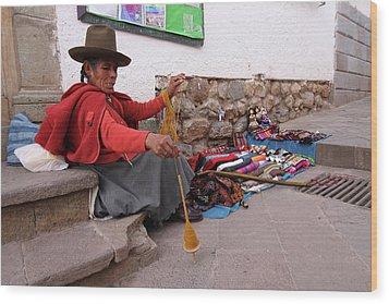 Wood Print featuring the photograph Peruvian Weaver by Aidan Moran