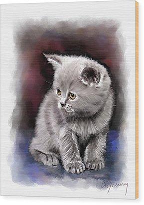 Pet Cat Portrait Wood Print by Michael Greenaway