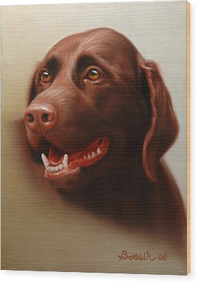Pet Portrait Of A Chocolate Labrador Wood Print by Eric Bossik