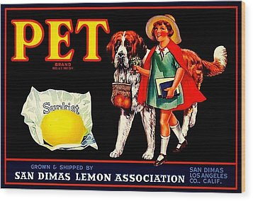 Pet Saint Bernard 1920s California Sunkist Lemons Wood Print by Peter Gumaer Ogden