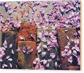 Wood Print featuring the photograph Petals On The Bricks 2 Ae by Lyle Crump