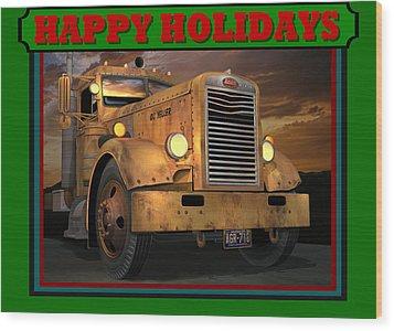 Wood Print featuring the digital art Pete Ol' Yeller Happy Holidays by Stuart Swartz