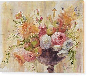 Petite Apples In Floral Wood Print by Judith Levins