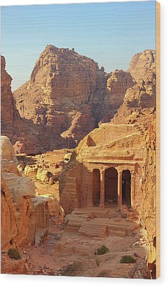Petra Buildings, Pond And Gardens Complex Wood Print