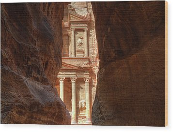 Petra Treasury Revealed Wood Print by Nigel Fletcher-Jones