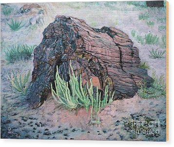 Wood Print featuring the painting Petrified Log In Arizona by Cindy Lee Longhini