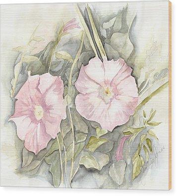 Wood Print featuring the painting Petunias by Jackie Mueller-Jones