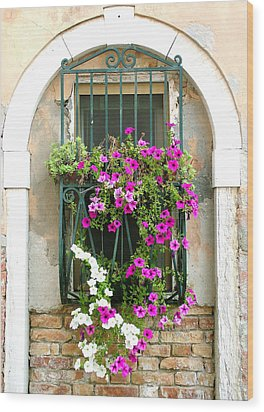 Petunias Through Wrought Iron Wood Print by Donna Corless