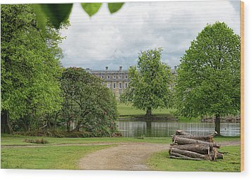 Petworth House On Lake Wood Print by Michael Hope