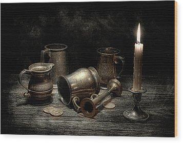 Pewter Still Life I Wood Print by Tom Mc Nemar