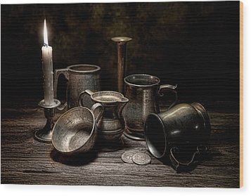 Pewter Still Life II Wood Print by Tom Mc Nemar