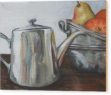 Pewter Teapot And Bowls Wood Print by Amy Higgins