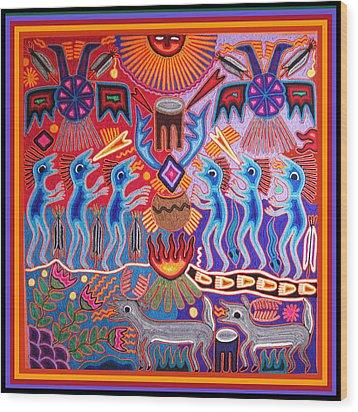 Peyote Shaman Hunting Ritual Wood Print by Vagabond Folk Art - Virginia Vivier