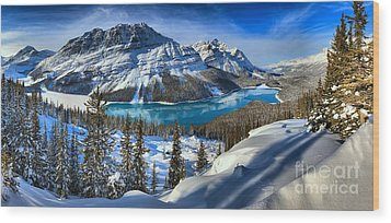 Peyto Lake Winter Panorama Wood Print by Adam Jewell