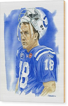 Peyton Manning - Heart Of The Champion Wood Print by George  Brooks