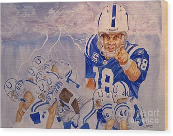 Peyton Manning - Perfect Storm Wood Print by George  Brooks