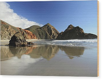 Pfeiffer Beach Reflection Wood Print by Pierre Leclerc Photography
