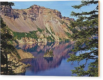 Phantom Ship In Crater Lake Wood Print by Michael Courtney
