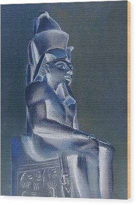 Wood Print featuring the mixed media Pharaoh In Blue by Elizabeth Lock
