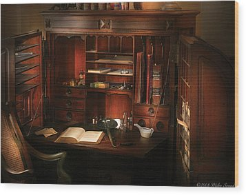 Pharmacist - The Pharmacists Desk Wood Print by Mike Savad