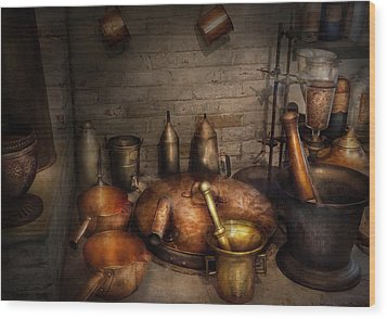 Pharmacy - Alchemist's Kitchen Wood Print by Mike Savad