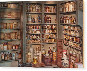 Pharmacy - Get Me That Bottle On The Second Shelf Wood Print by Mike Savad