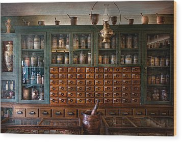 Pharmacy - Right Behind The Counter Wood Print by Mike Savad