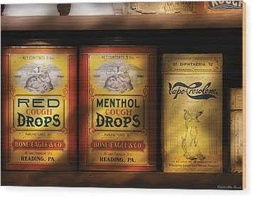 Pharmacy - Cough Drops Wood Print by Mike Savad