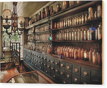 Pharmacy - So Many Drawers And Bottles Wood Print by Mike Savad