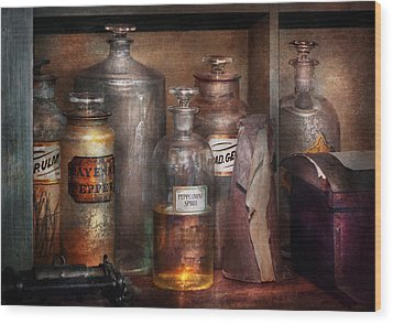 Pharmacy - That's The Spirit Wood Print by Mike Savad