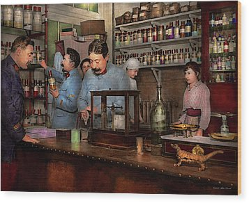 Wood Print featuring the photograph Pharmacy - The Dispensing Chemist 1918 by Mike Savad