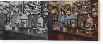 Wood Print featuring the photograph Pharmacy - The Dispensing Chemist 1918 - Side By Side by Mike Savad