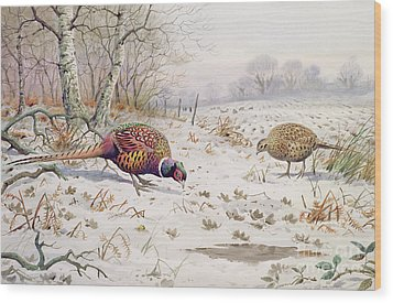 Pheasant And Partridge Eating  Wood Print by Carl Donner