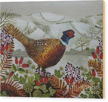 Pheasant And Snowy Hillside Wood Print