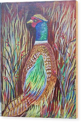 Pheasant In Sage Wood Print by Belinda Lawson